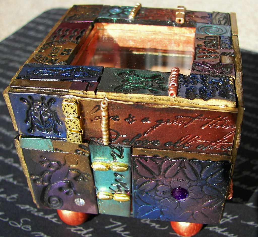 Laurie Mika inspired box | Polymer clay tiles, pearlex powed… | Flickr