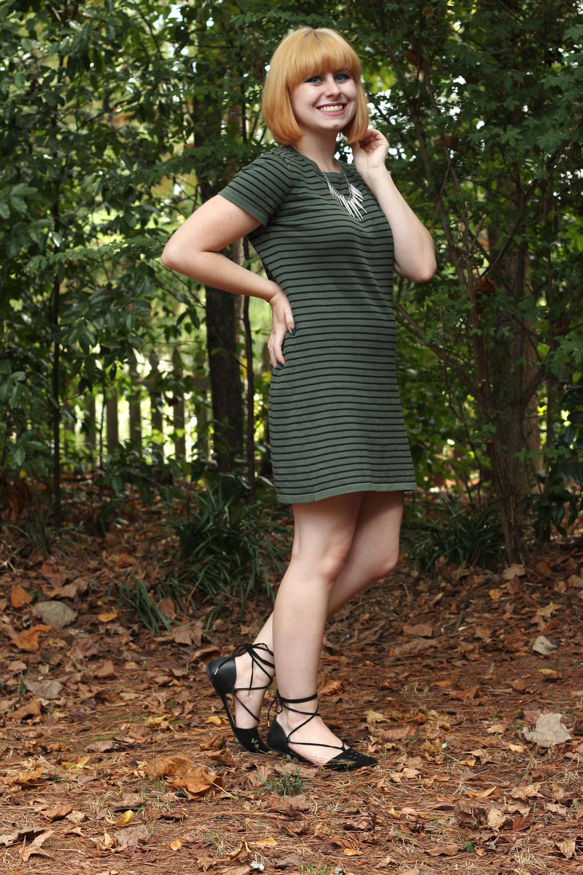 Striped Khaki Green Shift Dress Black Pointed Lace Up Flats