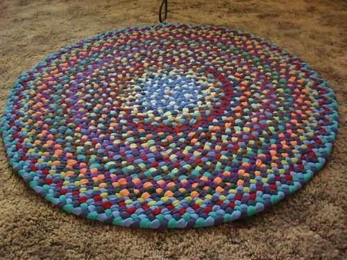 Sky Blue Kaleidoscope Braided Rug from recycled cotton | by Mrs Ginther
