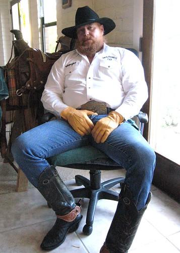 Big Boot Muscle Bear Cowboy  Cowboy, Wranglers, Bulge -1833