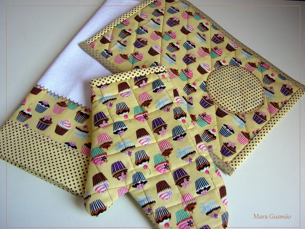 Armario Modulado Casal ~ Kit Cozinha Chá 2 Mug rug, pano de prato e luva em tecido u2026 Flickr