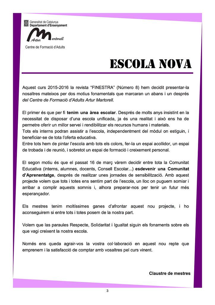Revista La Finestra 8 (Presentació)