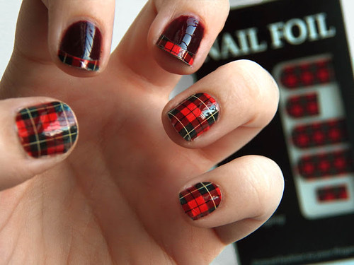 Red Plaid Nail Art Omgnailstrips Foil