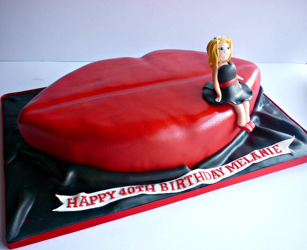 Red Lips 40th Birthday Cake Liana Stevens Flickr