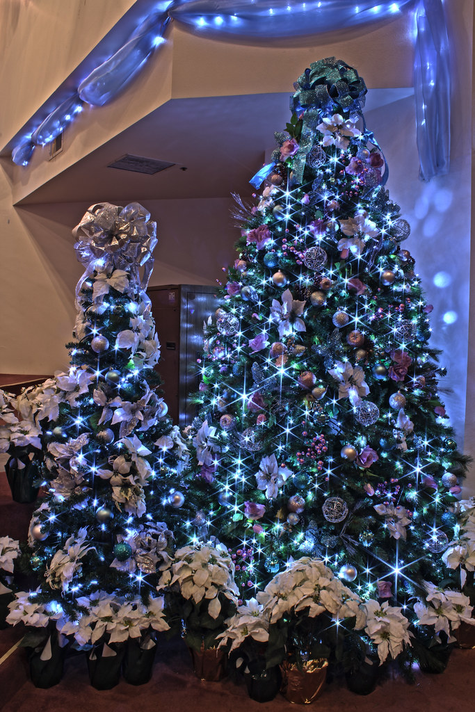 silver purple and blue themed christmas tree in led lights by mastery of - Silver And Blue Christmas Tree