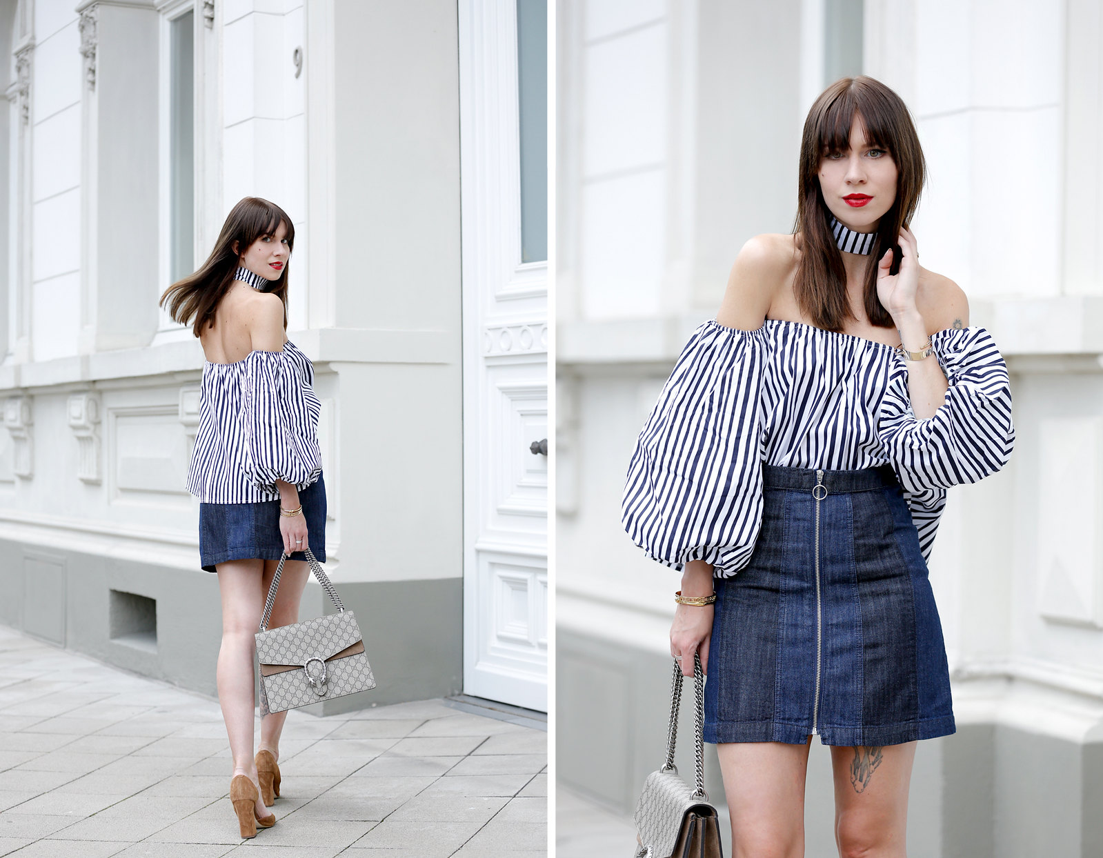 ootd outfit potd lookbook storets off shoulder stripe blouse chic mini denim skit seventies gucci dionysus bag luxury blogger fashionblog cats & dogs modeblogger berlin ricarda schernus dusseldorf fashionblog 4
