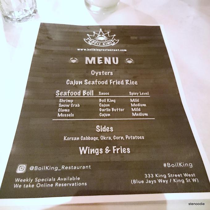 Boil King media tasting menu