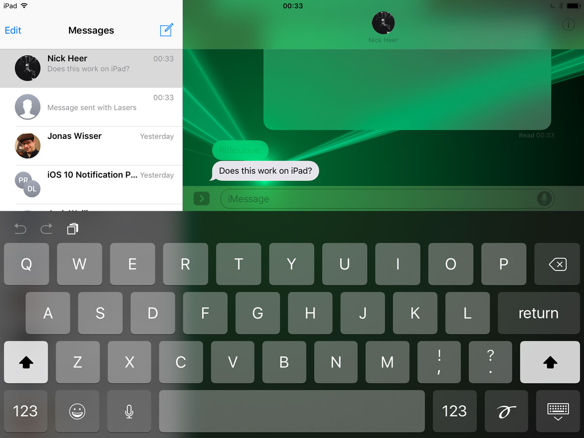 Lasers effect on the iPad