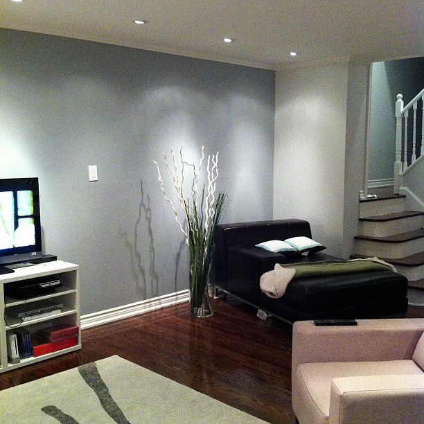 grey feature wall living room