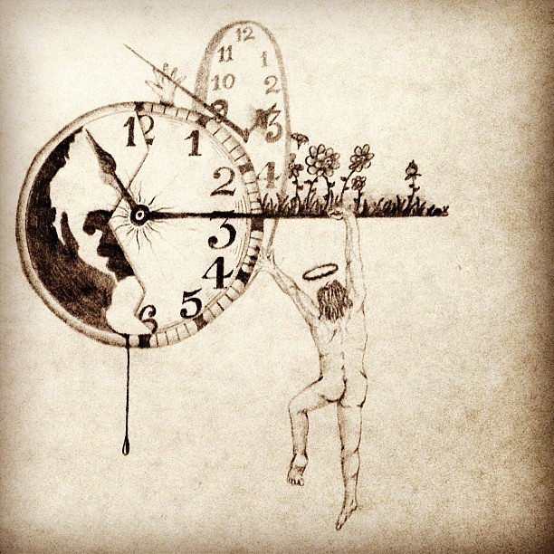 Time Travel Clock Drawing