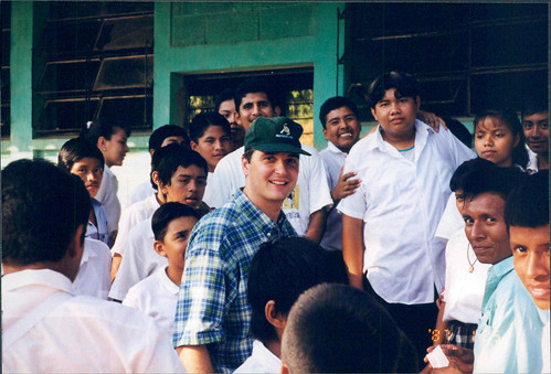Jeff in a throng of Guatemalan students.