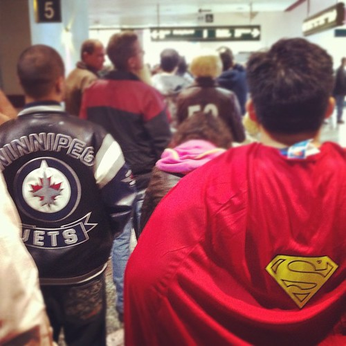 Standing in a crazy long line behind Superman to buy tix to C4 Comic Con! #winnipeg #comic #con #c4 #superman #jets | by Adrian J.K. Shum, CGD