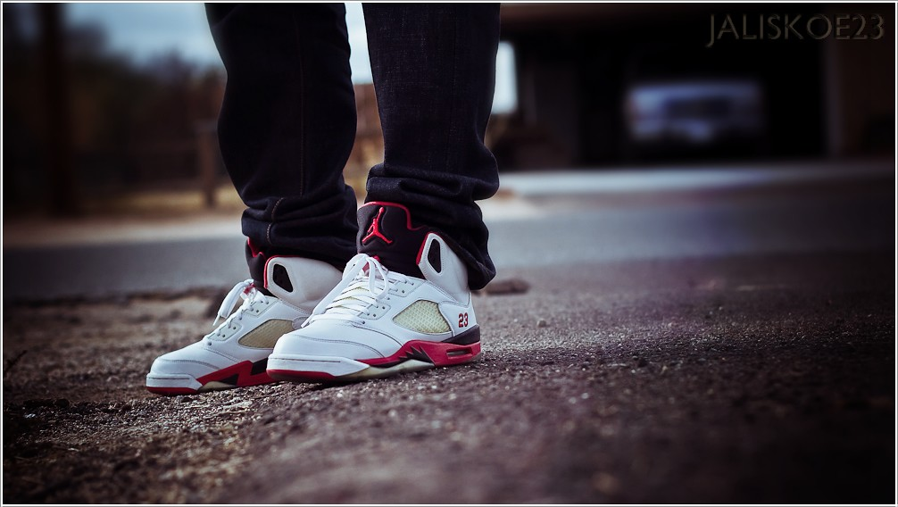 meet 63afb 12148 air jordan 5 fire red on feet
