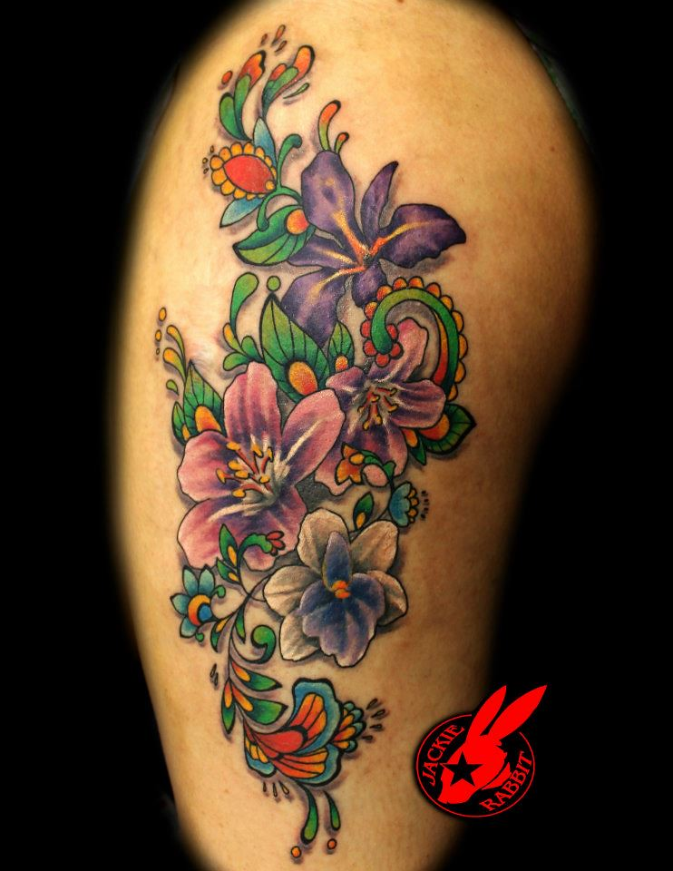 Flower tattoo by jackie rabbit custom tattoo by jackie for Tattoo roanoke va