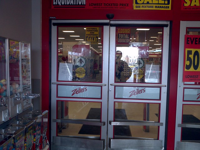 Zellers store closing automatic doors recently repaired