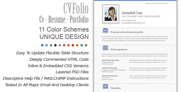 cv folio cv resume portfolio email newsletter template flickr