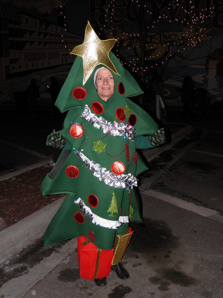 The human christmas tree photographed at the holiday strol