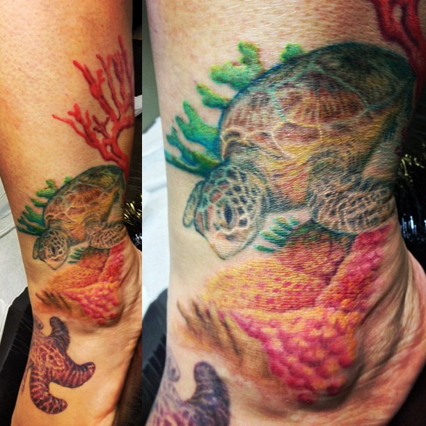 Sharon's Coral Reef Leg! #coralreef #tattoodesign #tattoo