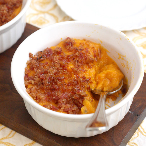 Bacon and Brown Sugar-Topped Sweet Potato Casserole | by Tracey's Culinary Adventures
