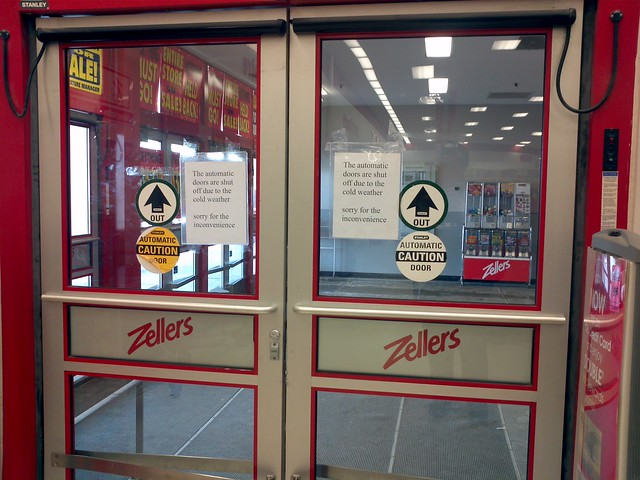 Zellers store closing automatic doors shut off flickr