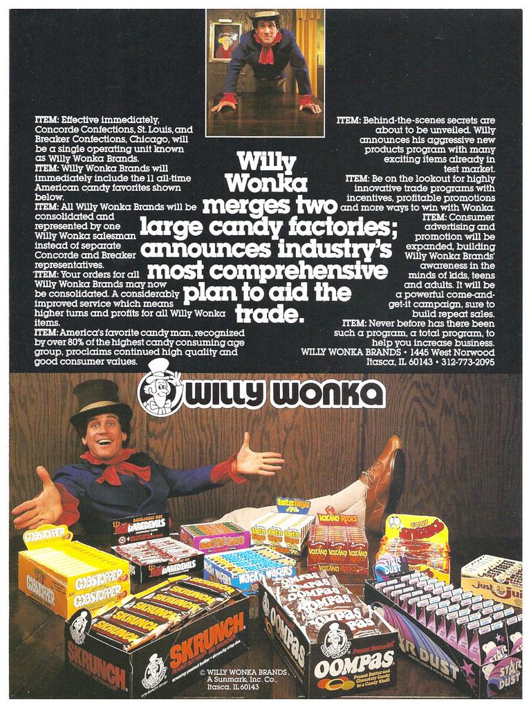 vintage 70 u0026 39 s sunmark wonka candy sell sheet ad slick skrun