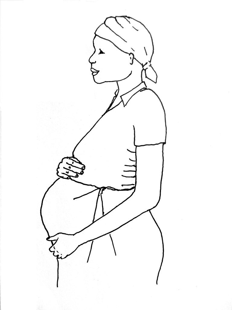 It is a picture of Geeky Pregnant Lady Drawing