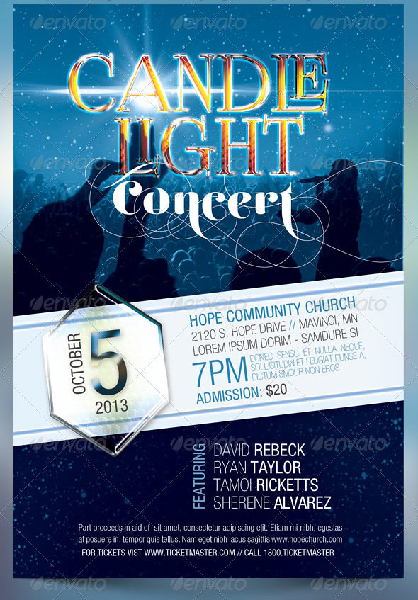 Candle light concert flyer templates the candle light for Religious flyers template free