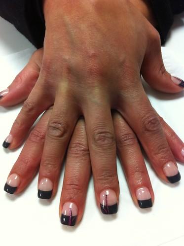 14 ongle gel noir decor violet paillette nail art french m. Black Bedroom Furniture Sets. Home Design Ideas