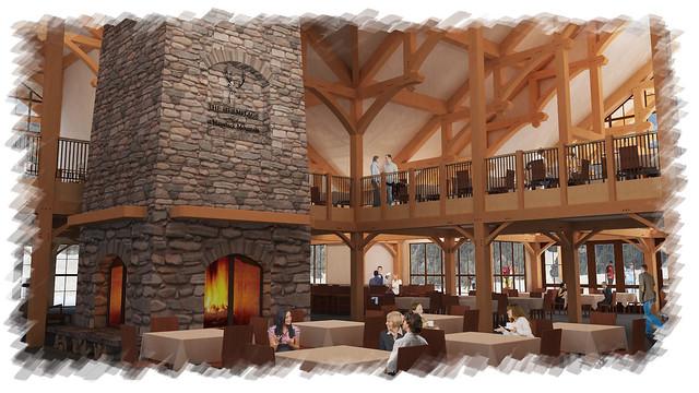 Haystack base lodge large four sided fireplace flickr for Four sided fireplace