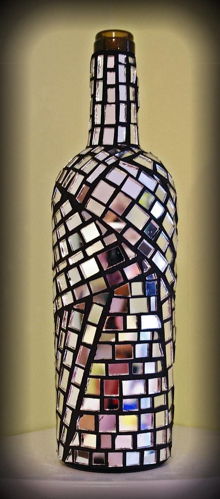 Mirror Mosaic Wine Bottle Recycled Wine Bottle Using
