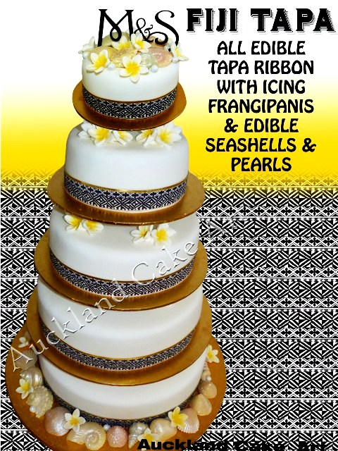 Fiji Tapa Wedding Cake Fiji Tapa Design Surrounding The