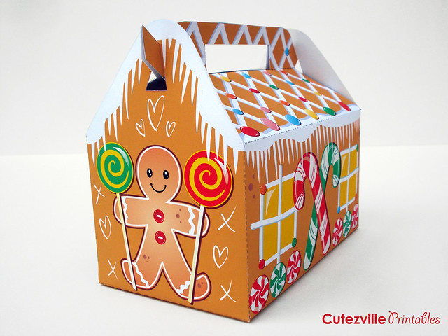Printable PDF Christmas Gingerbread House Gift Box With ...