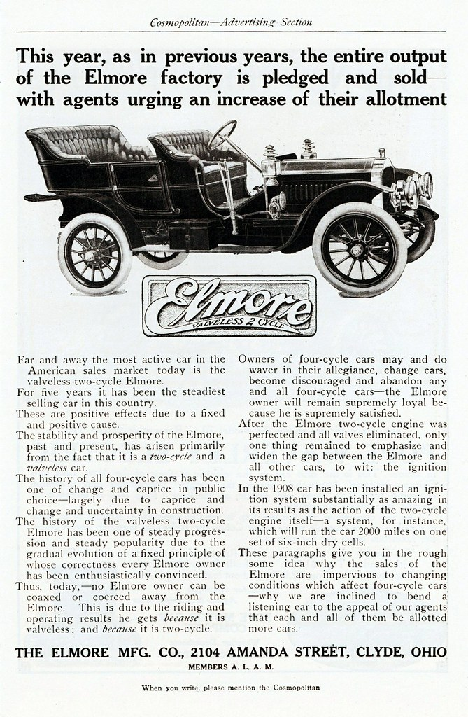 1908 Elmore Touring Car | Elmore cars were made in Clyde, Oh… | Flickr