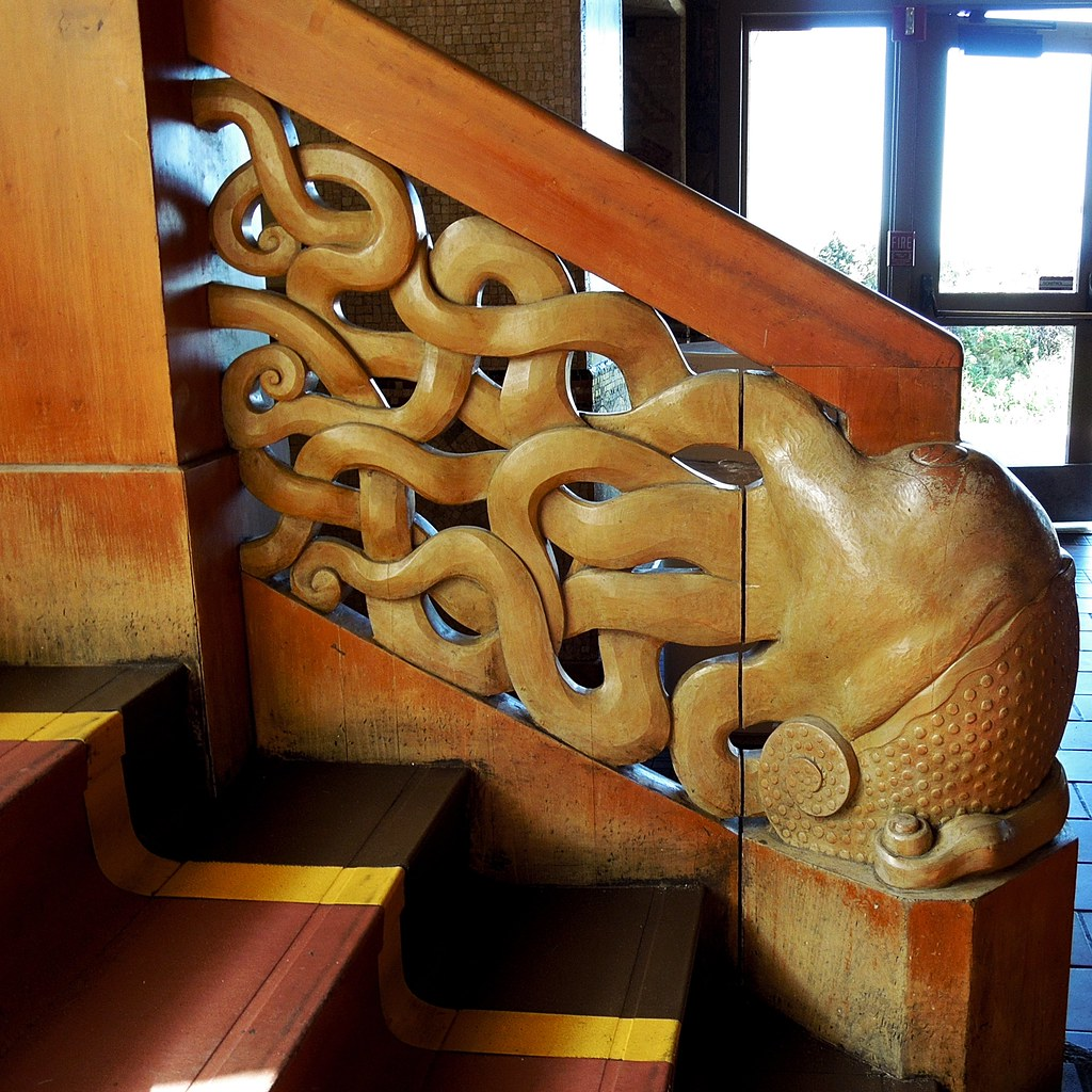 William S Woodworks Wood Stairs: San Francisco Beach Chalet Carved Stair Banister
