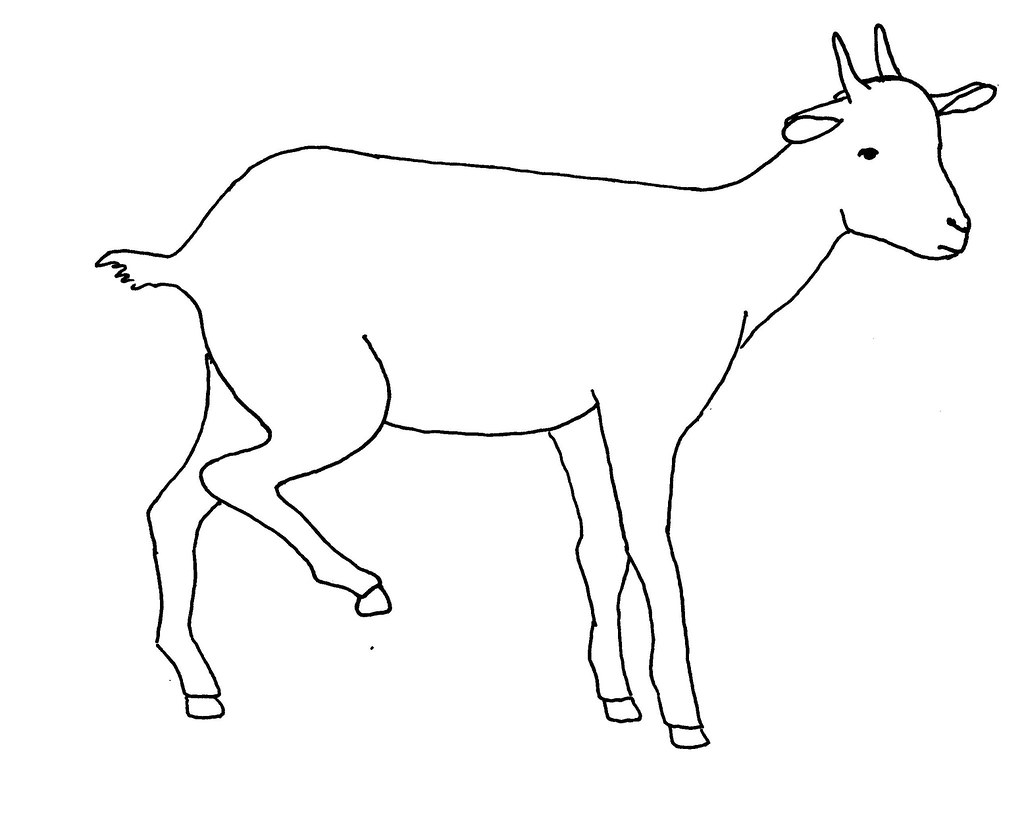 line drawing of a lame goat used as extension and
