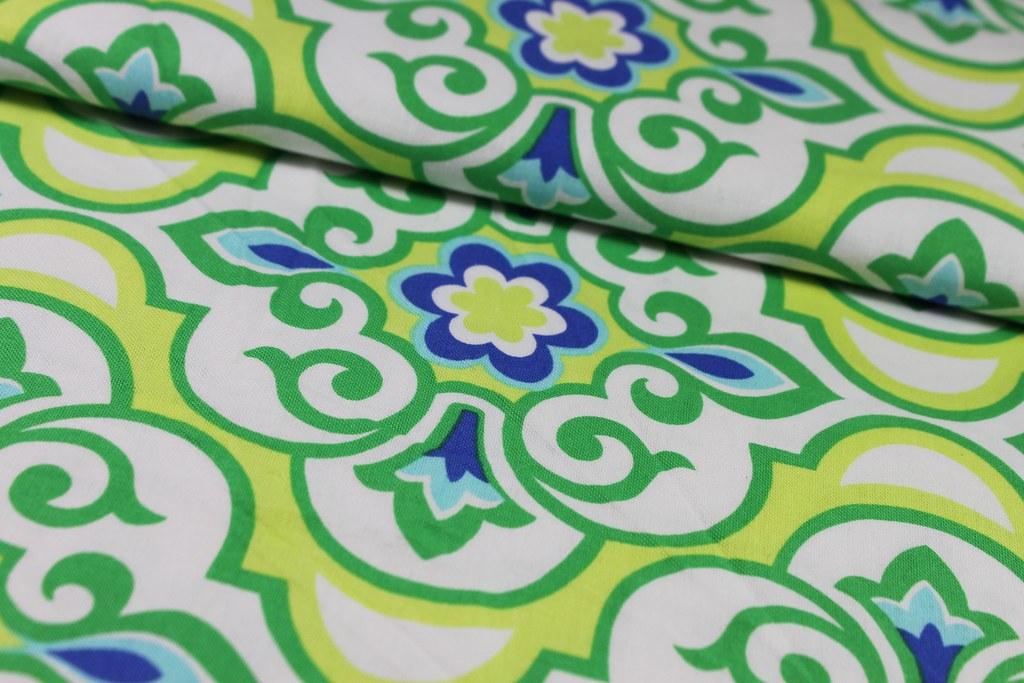 "Baumwollstoff ""Damask Blumen"", grün-blau"
