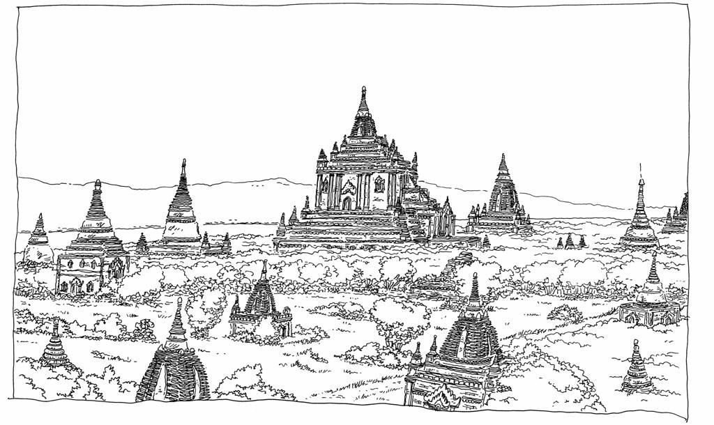 Myanmar Birmanie Bagan Vue Depuis La Pagode Shwesandaw