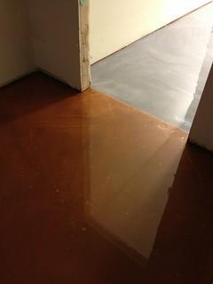 White Metallic Epoxy Floor And White Kitchen Cabinets