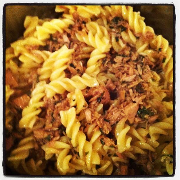 Tuna & Anchovies With Pasta #food #pasta #tuna #anchovies