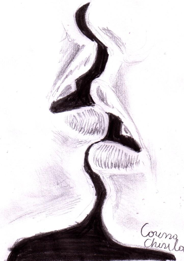 Desenesipicturidecorina sarut desen in creion kiss pencil drawing by desenesipicturidecorina