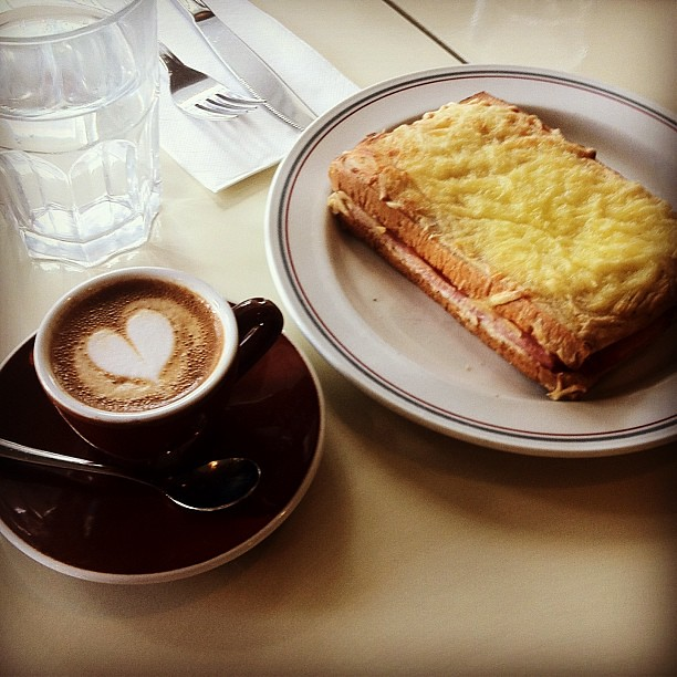 #Breakfast of Croque Monsieur and macchiato