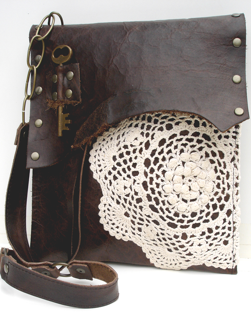 fe8216dd24 ... UrbanHeirlooms Urban Heirlooms Med. Leather Boho w French Knot Doily