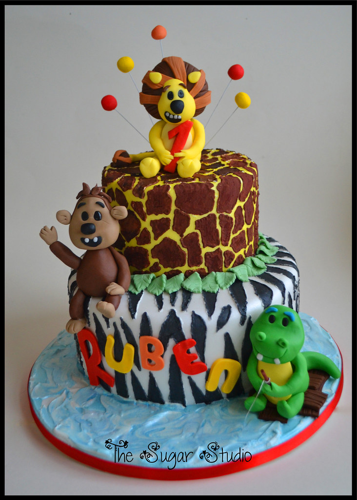 2 Tier Raa Raa The Noisy Lion 1st Birthday Cake With Handm Flickr