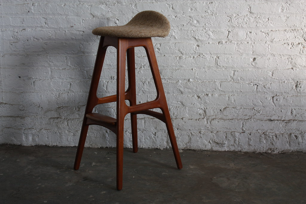 ... Top Dog Erik Buck Teak Danish Mid Century Modern Bar Stool (Denmark,  1950u0027s)
