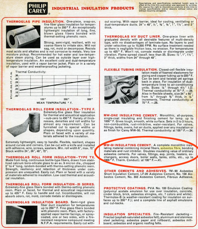 Philip carey insulation catalog page a commenter claimed for Philip carey asbestos