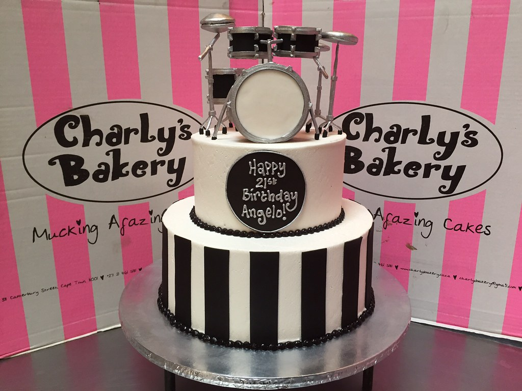 2tier 21st birthday cake with 3D Drum Kit set topper in b Flickr