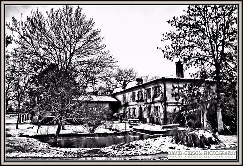 French country house snow hdr black and white for French country house blog