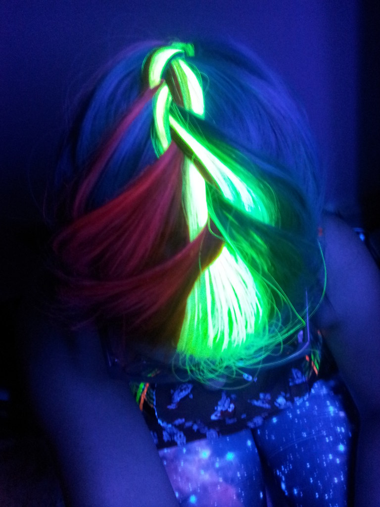 Black light neon rainbow french braid neon rainbow hair f flickr black light neon rainbow french braid by megan is me gumiabroncs Image collections
