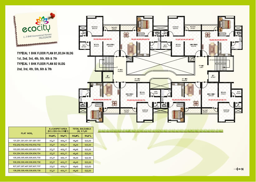 1 bhk flats b building typical floor plan namrata ec for Typical house floor plan