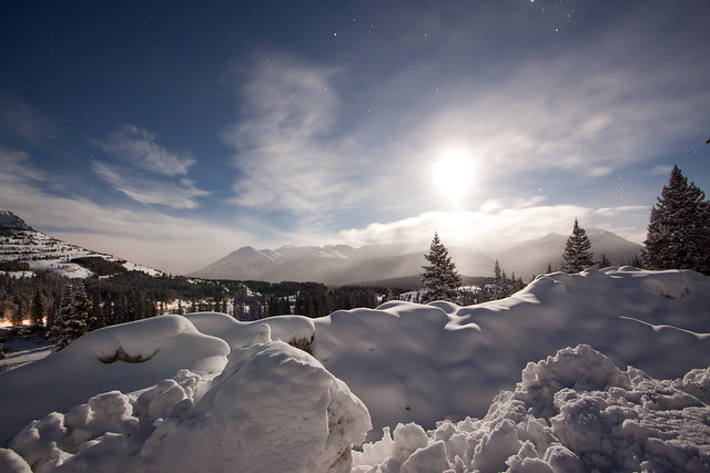 Moon Lit Snow Covered Mountains At Night Flickr Photo